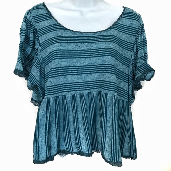 Free People Tops - Free People Candy Stripe Ruffle Cropped Tee M